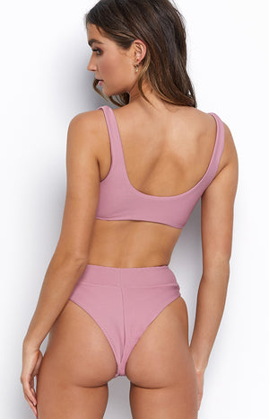 9.0 Swim Levanzo Mid Waist Bikini Bottoms Dusty Pink Ribbed