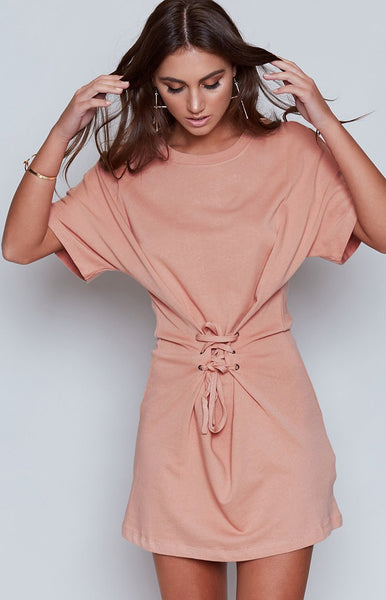 MinkPink Corset Sweat Mini Dress Blush