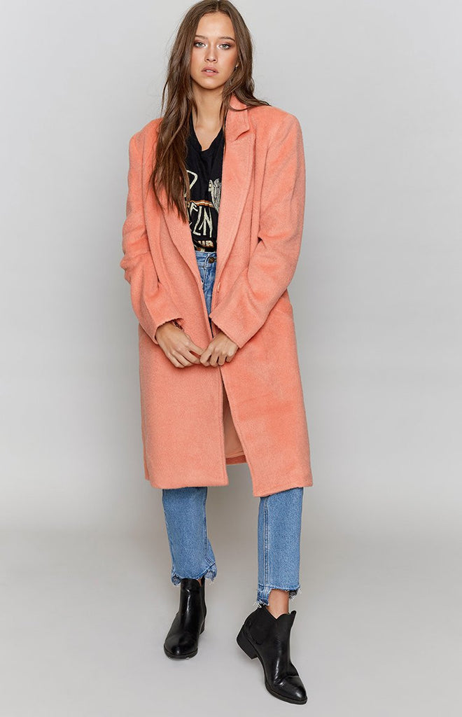 MinkPink Fearless Wool Coat Pink