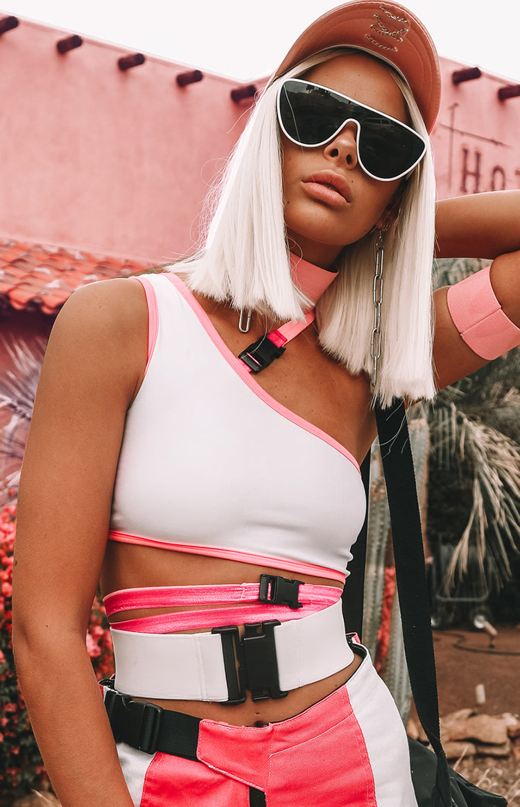Burn Out One Shoulder Crop White With Pink