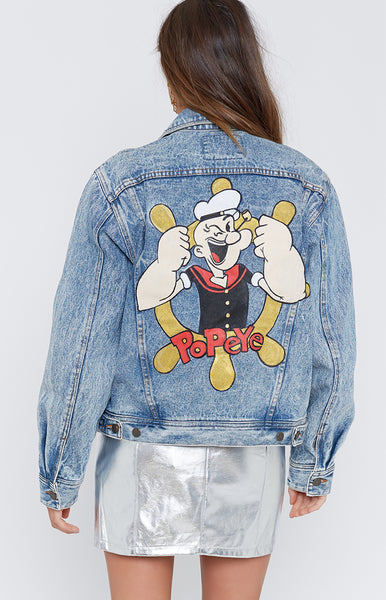 Vintage Popeye The Sailor Cropped Acid Wash Denim Jacket