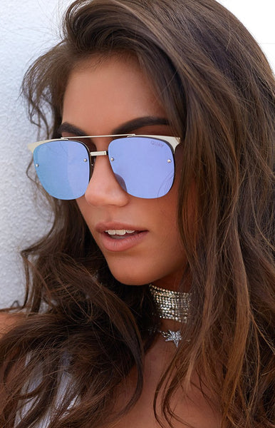Quay Private Eyes Sunglasses Silver and Violet