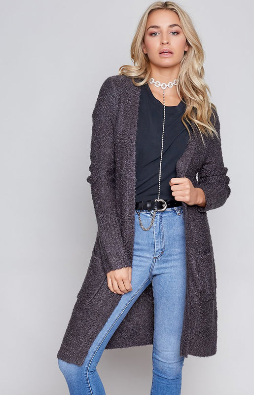 MinkPink Looped Out Longline Cardigan Charcoal