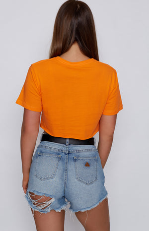 Michael X Shani Hey Dal Cropped Tee Orange