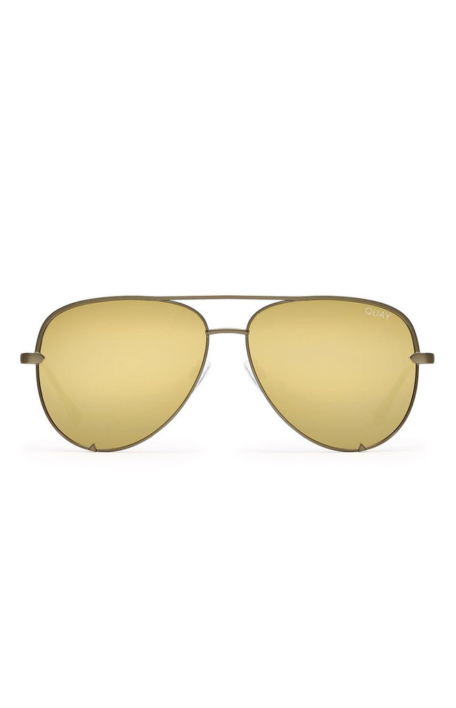 Quay X Desi High Key Sunglasses Green Gold