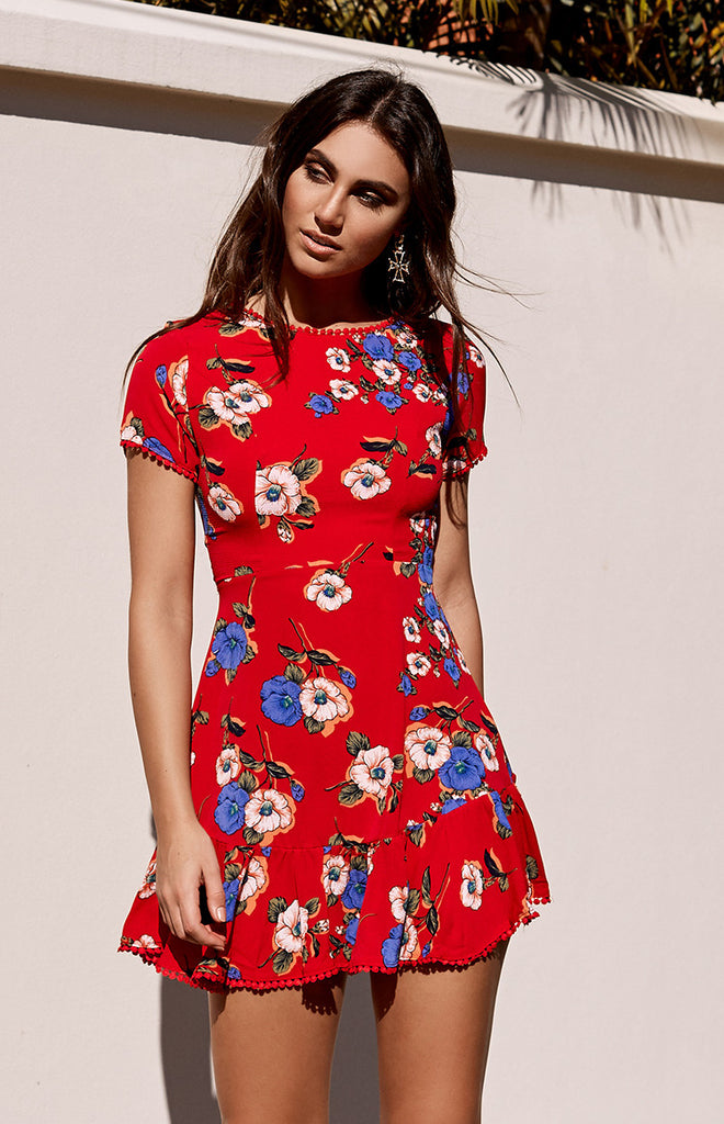 Penny Mini Dress Red Floral