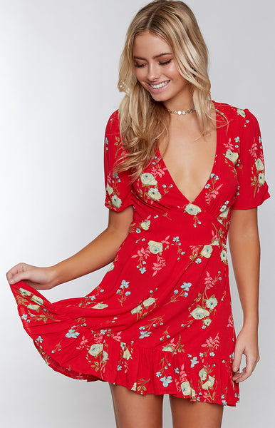 Peggy Mini Dress Red Floral