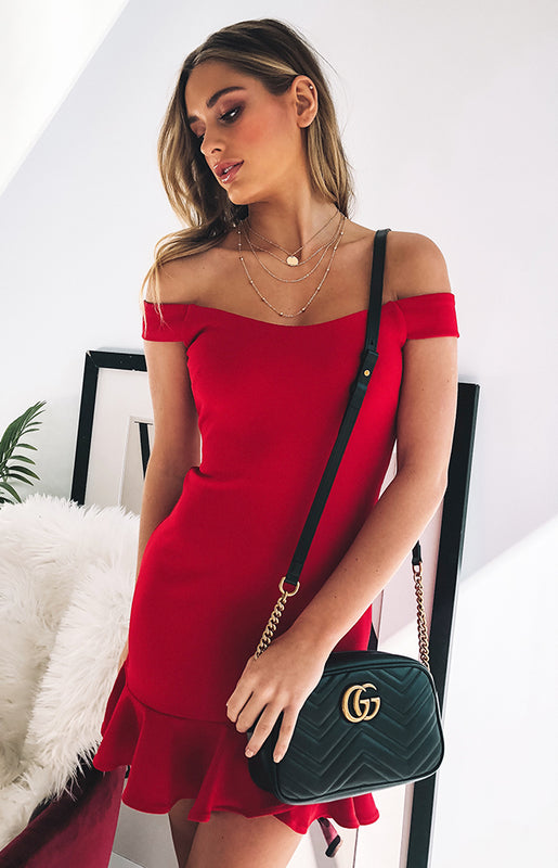 Abigail Off Shoulder Dress Red