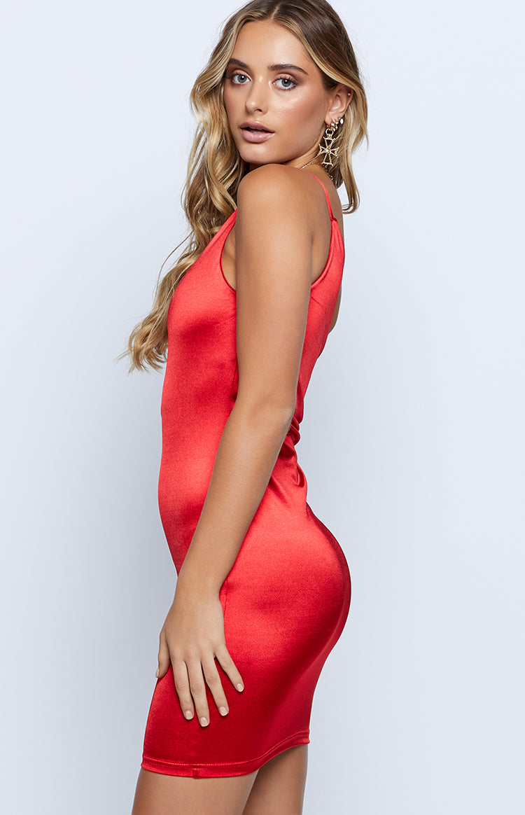 Kenzi One Shoulder Dress Red