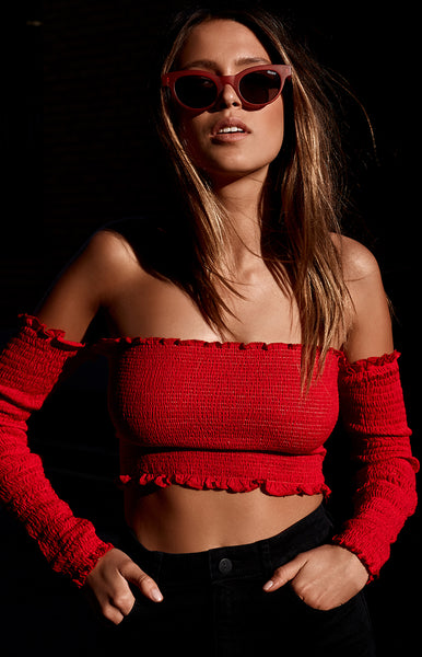 Fired Up Off Shoulder Crop Red