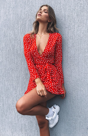 Step Up Long Sleeve Dress Red Polka