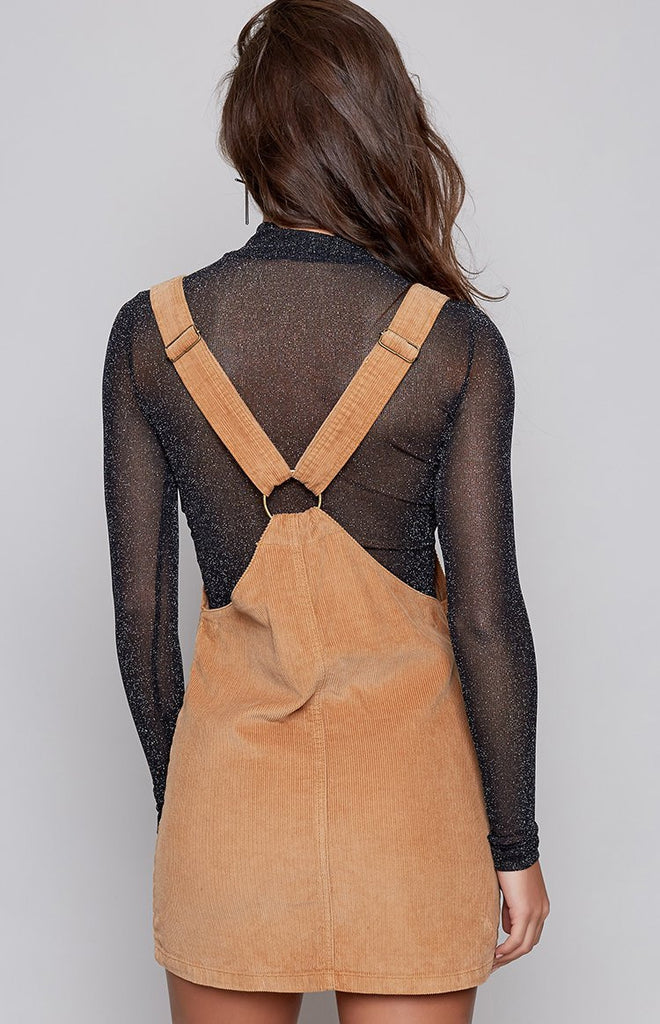 Afends Almond Pinafore Dress Light Tan