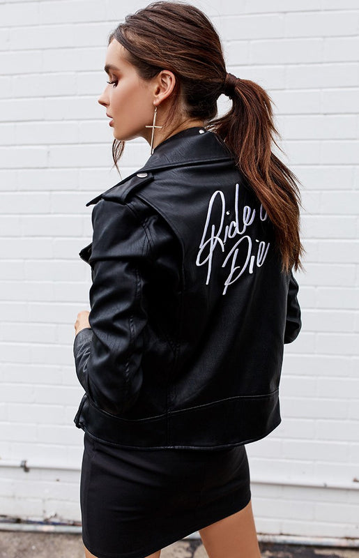Ride Or Die Biker Jacket Black