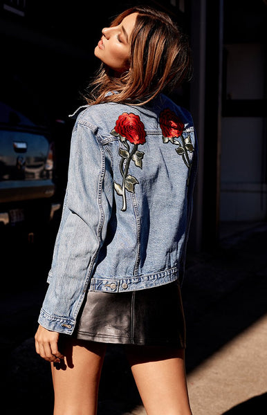 Vintage Rose Patch Denim Jacket