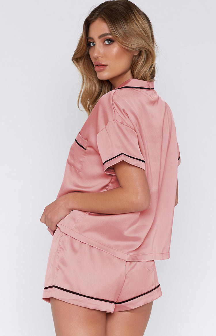 Amour Button Up Sleep Shirt Blush