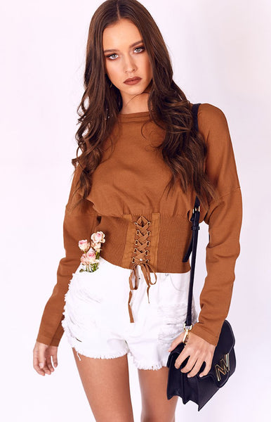Kim Corset Cropped Sweater Rust