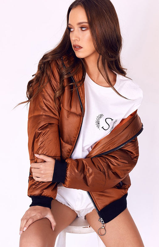 Twiin Shelter Hooded Puffa Jacket Copper