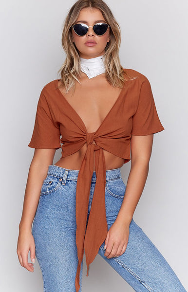 Almalfi Tie Up Crop Rust