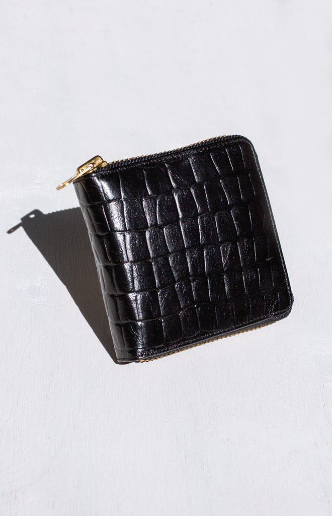 Status Anxiety Empire Wallet Black Croc Emboss