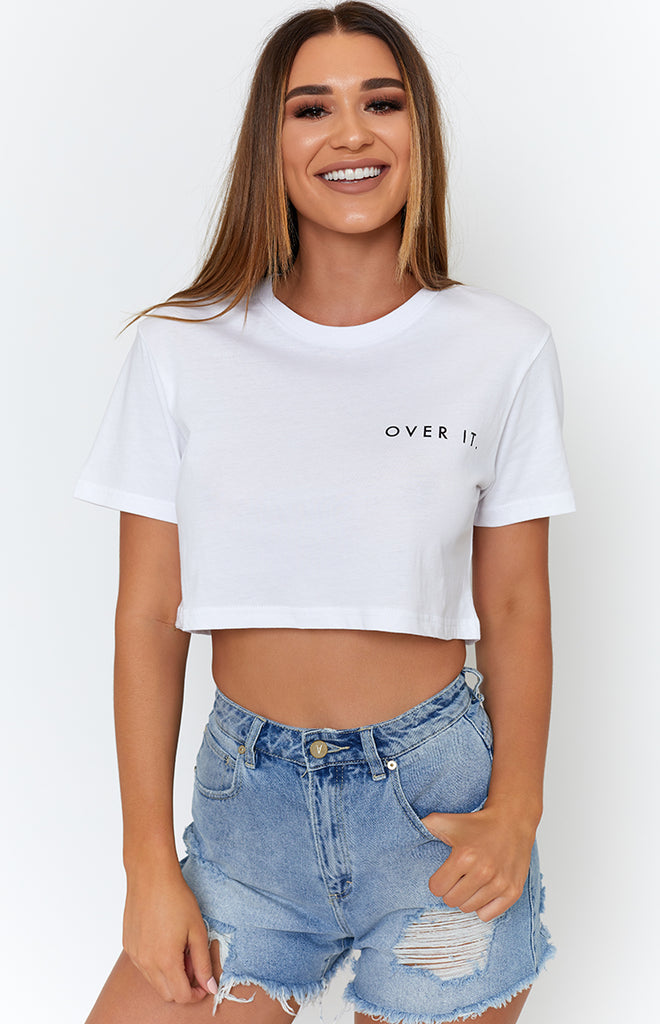 Michael x Shani Over it Cropped Tee White