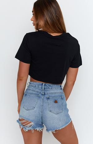 Michael x Shani That's A Bit Dramatic Cropped Tee Black
