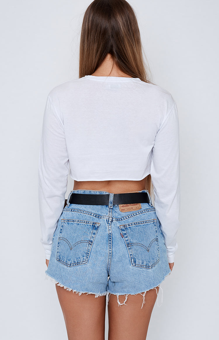 Michael x Shani THANKQ Long Sleeve Cropped Tee White