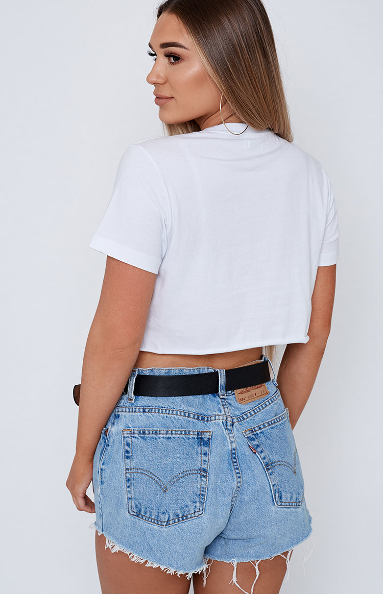Michael x Shani THANKQ Cropped Tee White