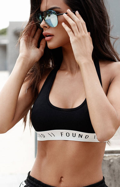 Found Basics Sideline Crop Black