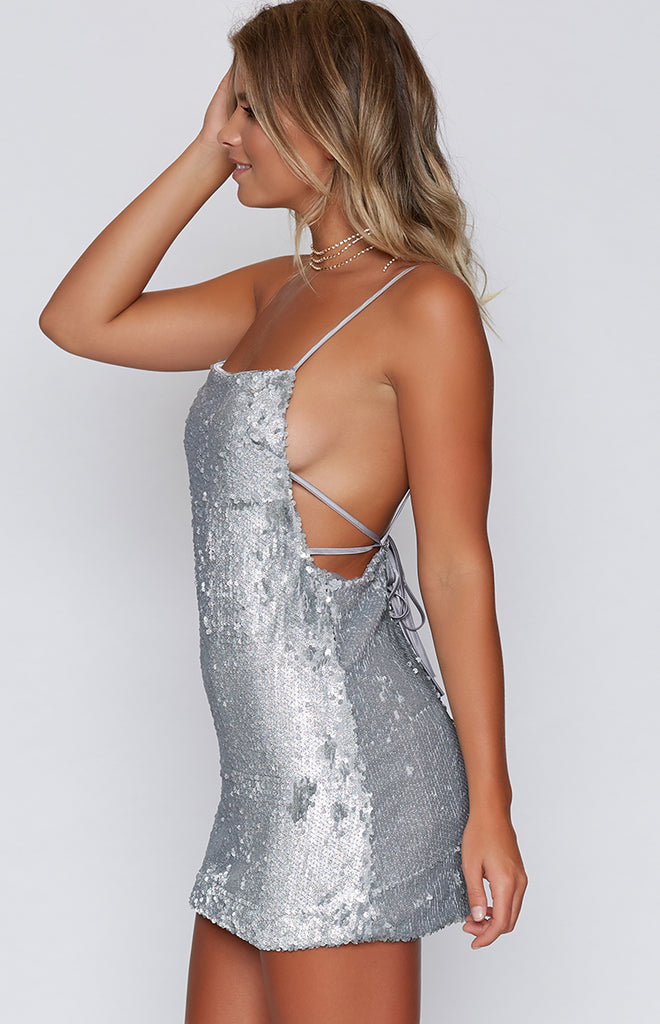Allure Mini Dress Silver Sequin