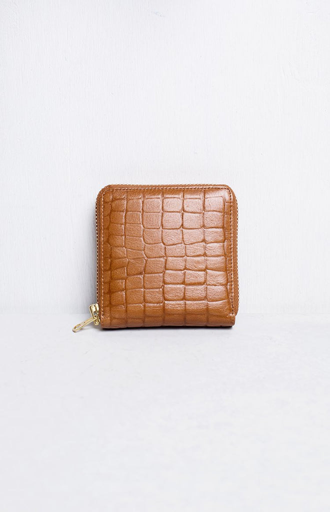 Status Anxiety Empire Wallet Tan Croc Emboss