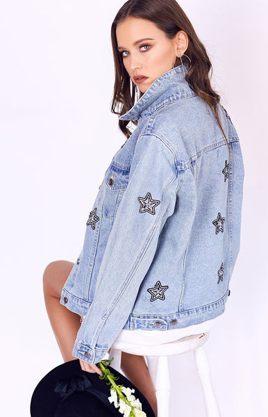 MinkPink Cosmos Crystal Patch Jacket Light Blue