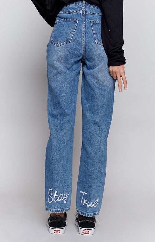 MinkPink Stay True Embroidered Jeans Vintage Blue