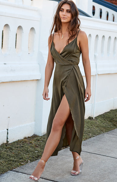 Rydges Wrap Dress Khaki