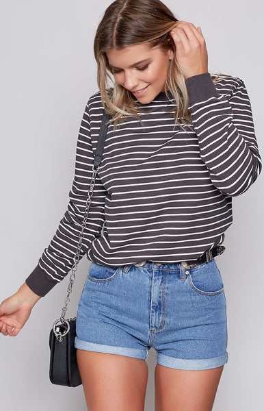 Afends Frenchie Crew Neck Sweater Charcoal Stripe
