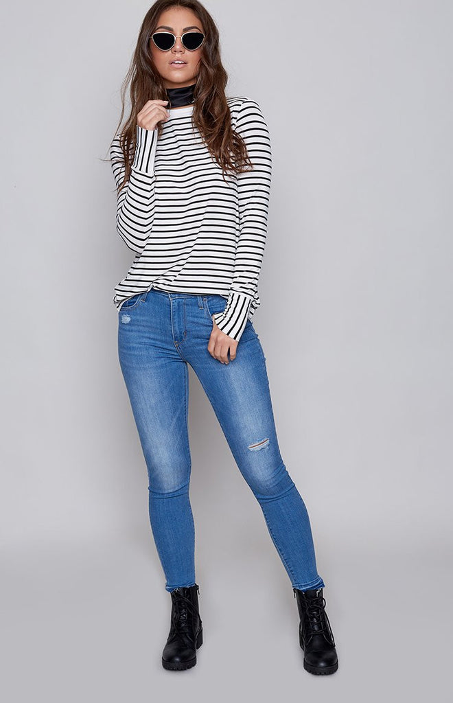 The Fifth Shine By Long Sleeve Top Black White Stripe