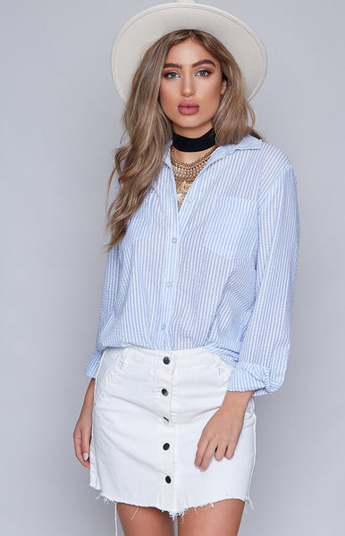 Passenger Shirt Blue and White Stripe
