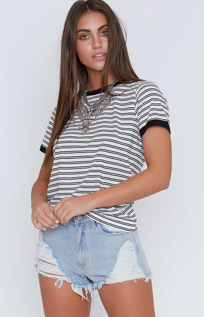Nude Lucy Salt Lake Ringer Tee Black Stripe
