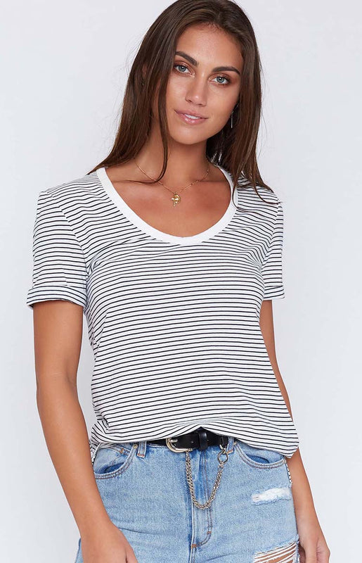 Rusty Bare Scoop Neck Tee Stripe