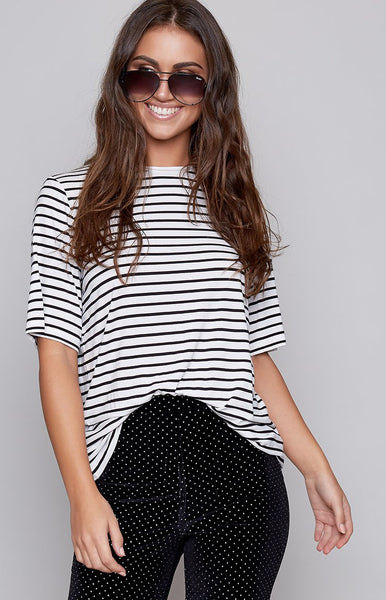 The Fifth Shine By T-Shirt Black White Stripe