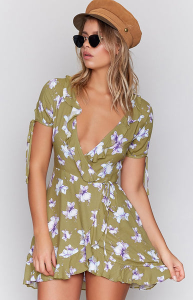 Sugar Lips Wrap Dress Kiwi