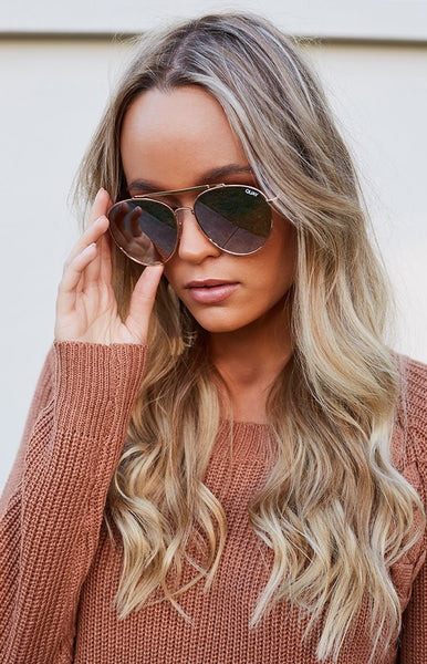 Quay Lickety Split Sunglasses Gold Brown