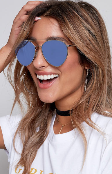Quay Indio Sunglasses Silver Blue