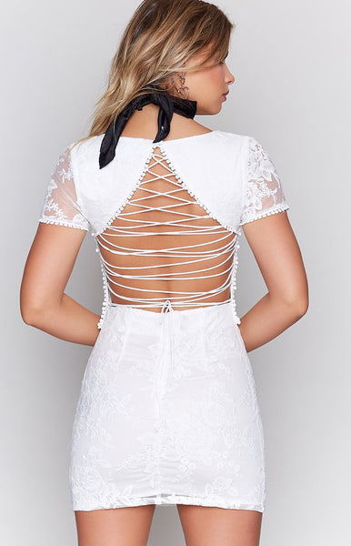 Sweet Sorceress Laced Dress White