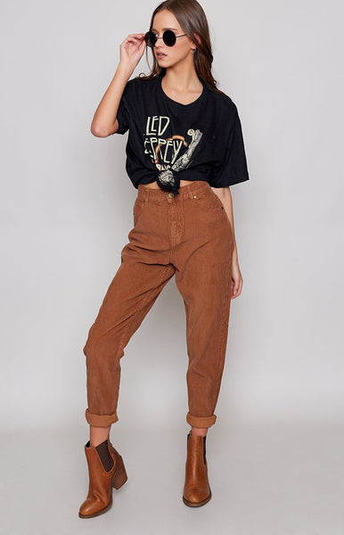 Afends Luckies High Waist Slim Jeans Brick Cord