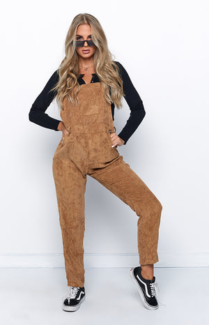 Love So Deep Jumpsuit Tan Corduroy