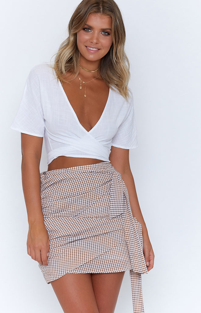 Cameron Skirt Tan Check