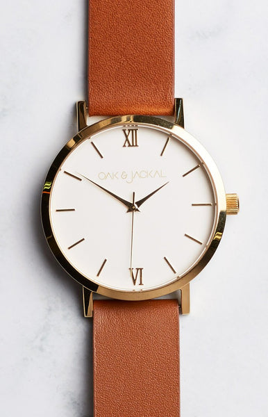 Oak & Jackal Gold And Tan Watch