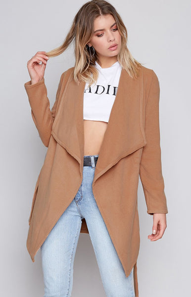 Adrianna Waterfall Coat Camel