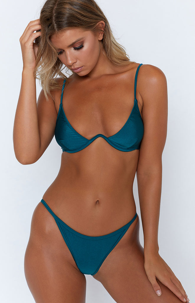 9.0 Swim Montego Underwire Bikini Top Metallic Teal