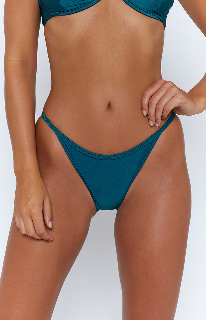 9.0 Swim Santorini String Bikini Bottoms Metallic Teal